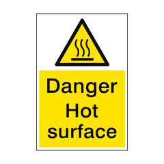 Danger Hot Surface Sign Portrait | PVC Safety Signs | Health and Safety Signs
