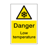 Warning Low Temperature Sign Portrait | PVCSafetySigns.co.uk