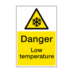 Warning Low Temperature Sign Portrait | PVC Safety Signs | Health and Safety Signs