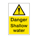 Danger Shallow Water Sign Portrait | PVC Safety Signs
