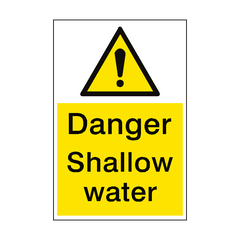 Danger Shallow Water Sign Portrait | PVC Safety Signs | Health and Safety Signs
