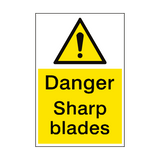 Danger Sharp Blades Sign Portrait | PVC Safety Signs