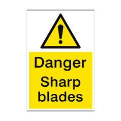Danger Sharp Blades Sign Portrait | PVC Safety Signs | Health and Safety Signs