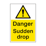 Sudden Drop Danger Sign Portrait | PVC Safety Signs