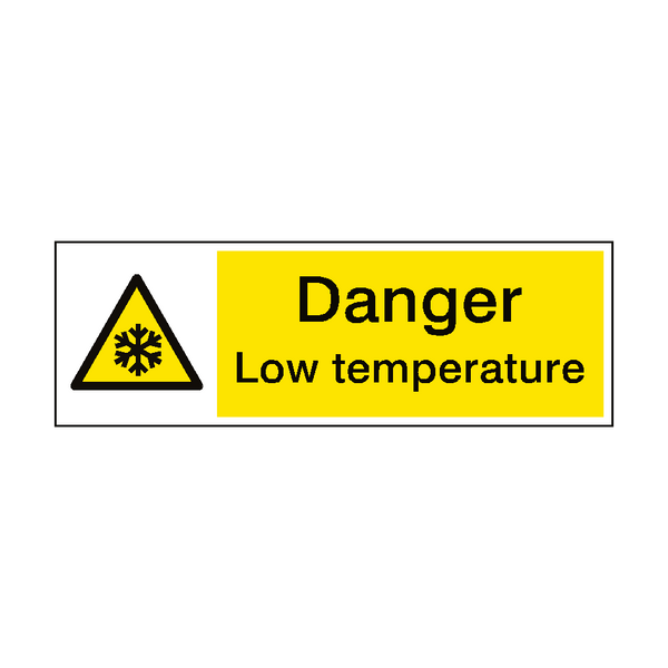 Warning Low Temperature Hazard Sign - PVC Safety Signs