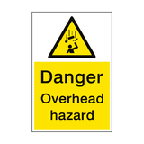 Danger Overhead Hazard Sign Portrait | PVC Safety Signs