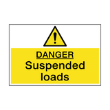 Danger Suspended Loads Hazard Sign | PVC Safety Signs