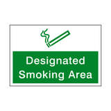 Designated Smoking Area Sign - PVC Safety Signs