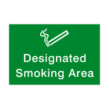 Designated Smoking Area Landscape Sign - PVC Safety Signs