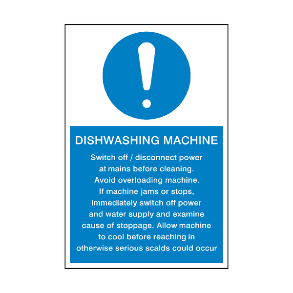 Dishwashing Machine Instructions Sign - PVC Safety Signs