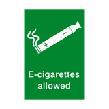E-Cigarettes Allowed Sign - PVC Safety Signs