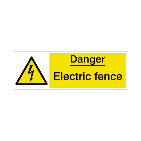 Electric Fence Safety Sign - PVC Safety Signs