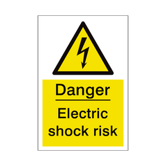 Electric Shock Risk Sign | PVC Safety Signs | Health and Safety Signs