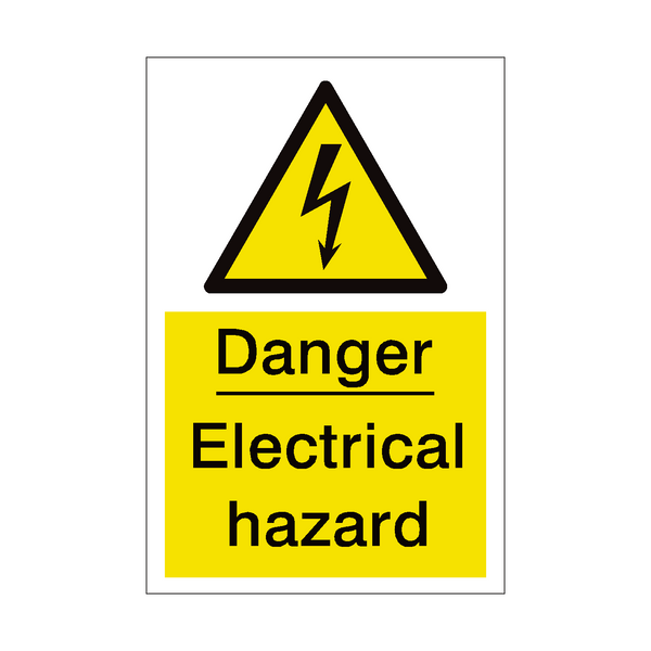 Electrical Hazard Sign - PVC Safety Signs