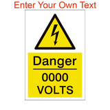 Custom Volts Sign | PVCSafetySigns.co.uk