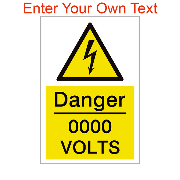 Custom Volts Sign - PVC Safety Signs