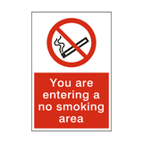 Entering No Smoking Area Sign - PVC Safety Signs