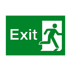 Exit Running Man Right Sign - PVC Safety Signs | Safety Signs Specialists