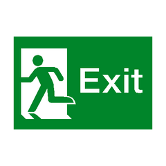Exit Running Man Left Sign - PVC Safety Signs | Safety Signs Specialists