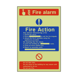 Fire Action Fire Alarm Photoluminescent Sign - PVC Safety Signs
