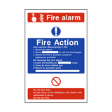 Fire Action Fire Alarm Sign - PVC Safety Signs