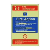 Fire Action Fire Extinguisher Photoluminescent Sign | PVC Safety Signs