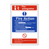 Fire Action Fire Extinguisher Sign | PVCSafetySigns.co.uk