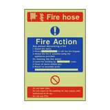 Fire Action Fire Hose Photoluminescent Sign | PVCSafetySigns.co.uk