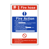 Fire Action Fire Hose Sign | PVCSafetySigns.co.uk
