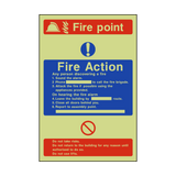 Fire Action Fire Point Photoluminescent Sign | PVC Safety Signs