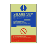 Fire Action Gas Leak Photoluminescent Sign | PVCSafetySigns.co.uk