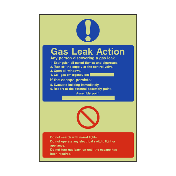 Fire Action Gas Leak Photoluminescent Sign | PVC Safety Signs