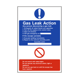 Fire Action Gas Leak Sign | PVCSafetySigns.co.uk