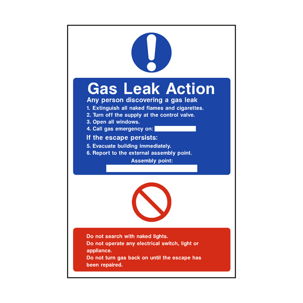 Fire Action Gas Leak Sign - PVC Safety Signs