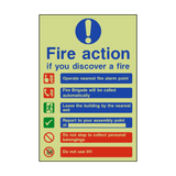 Fire Action Lift & Automatic Alarm Photoluminescent Sign | PVCSafetySigns.co.uk