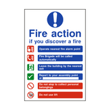 Fire Action Lift & Automatic Alarm Sign | PVCSafetySigns.co.uk