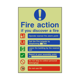 Fire Action Lift & Telephone Photoluminescent Sign | PVCSafetySigns.co.uk