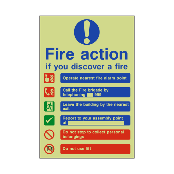 Fire Action Lift & Telephone Photoluminescent Sign - PVC Safety Signs