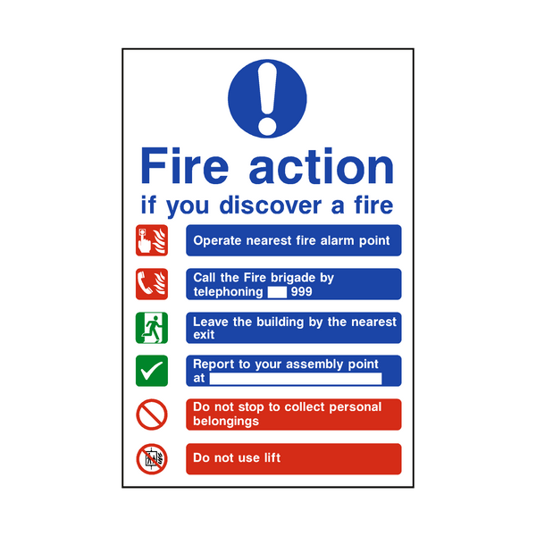 Fire Action Lift & Telephone Sign | PVC Safety Signs