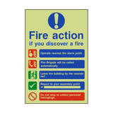 Fire Action Non-Lift Automatic Alarm Photoluminescent Sign | PVCSafetySigns.co.uk