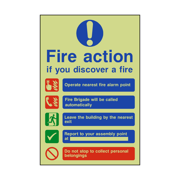 Fire Action Non-Lift Automatic Alarm Photoluminescent Sign - PVC Safety Signs