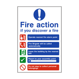 Fire Action Non-Lift Automatic Alarm Sign | PVCSafetySigns.co.uk