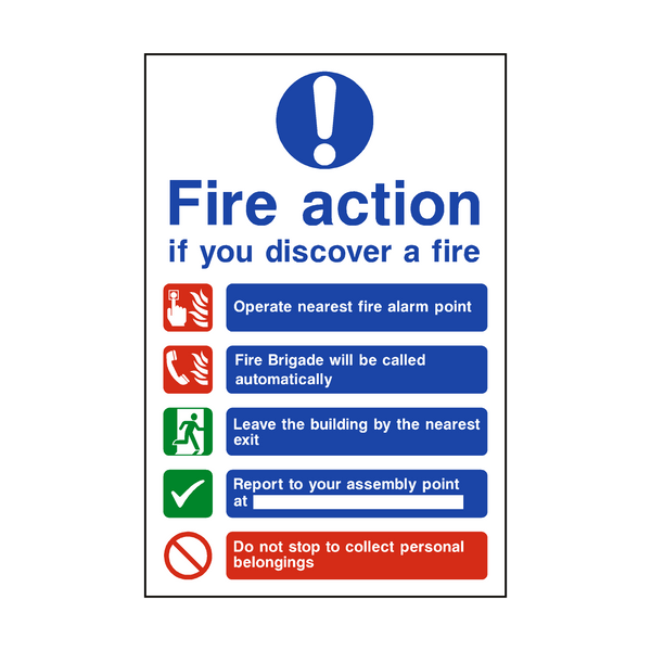 Fire Action Non-Lift Automatic Alarm Sign - PVC Safety Signs