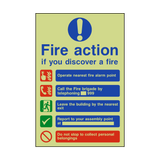Fire Action Non-Lift Telephone Photoluminescent Sign | PVCSafetySigns.co.uk