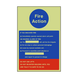 Fire Action Notice Version 1 Photoluminescent Sign | PVCSafetySigns.co.uk