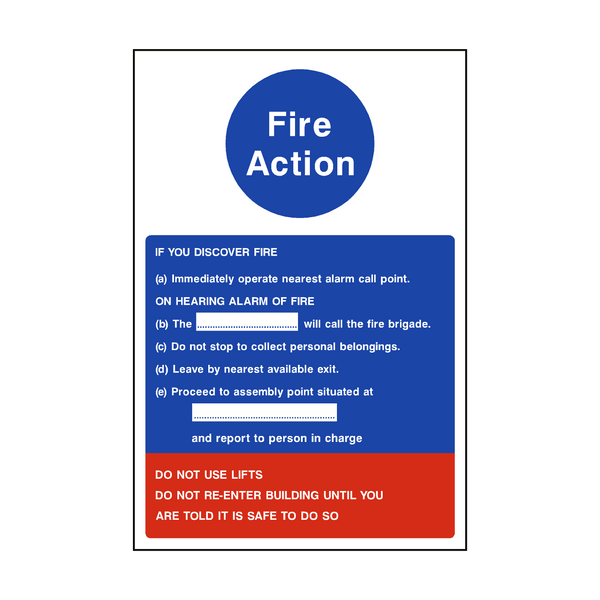 Fire Action Notice Version 1 | PVC Safety Signs