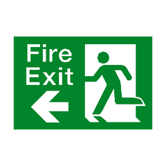 Fire Exit Left Arrow Sign - PVC Safety Signs | Safety Signs Specialists