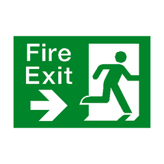 Fire Exit Right Arrow Sign - PVC Safety Signs | Safety Signs Specialists
