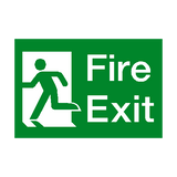 Fire Exit Running Man Left Sign - PVC Safety Signs
