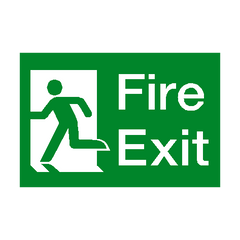Fire Exit Running Man Left Sign - PVC Safety Signs | Safety Signs Specialists